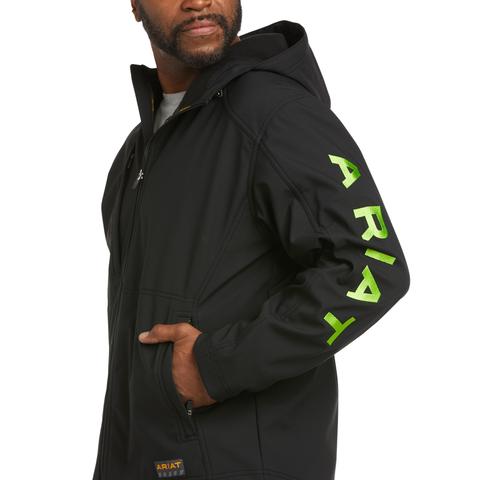 Chamarra de trabajo ariat, color negro y con logo color verde